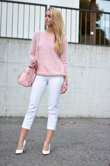top white pants cashmere top