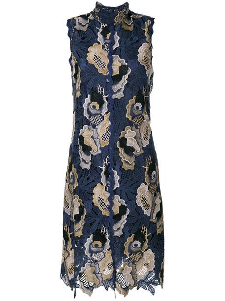 dress midi dress embroidered women midi lace blue