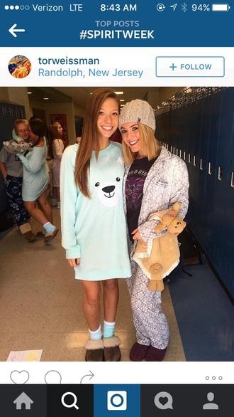 dress pajamas polar bear mint green