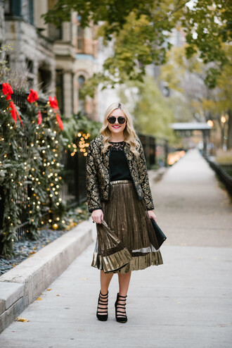 bows&sequins blogger jacket tank top skirt shoes bag jewels top tights pleated skirt gold skirt midi skirt high heel sandals black top