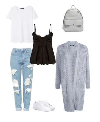 t-shirt white white top distressed denim mom jeans long cardigan grey cardigan black top lace top white sneakers grey backpack white t-shirt backpack