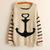 Vintage Women Stripe Bavy Anchor Knit Sweaters Pullover Jumper Cardigan Outwear | eBay