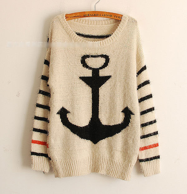 Vintage women stripe bavy anchor knit sweaters pullover jumper cardigan outwear