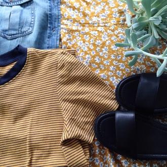 shirt mustard yellow striped shirt tumblr american apparel ringed shirt menswear