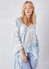 top,lovestitch,white,off-white,blue,one size,light weight,sheer,v neck,block print,kimono,variations,chic,effortless,versatile,summer,beach,kimono style,caftan