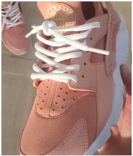 shoes rose gold hararche white she poppin nike pink pink shoes ya nigga  want me pretty