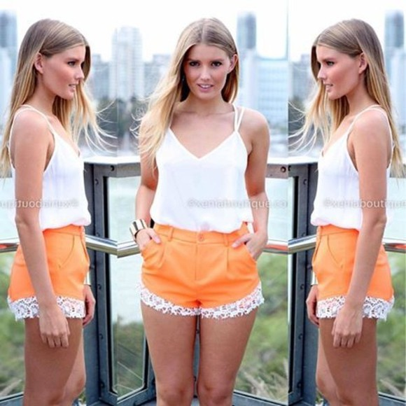 shorts orange shorts orange lace summer outfits High waisted shorts lace shorts