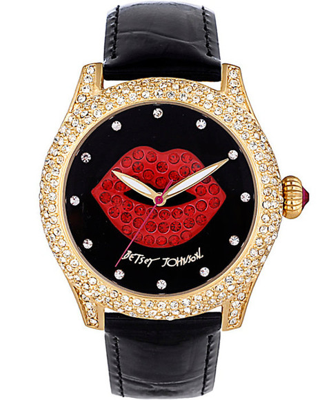 red lips jewels leather watches betsey johnson fashion