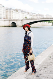olivia lazuardy,blogger,hat,top,pants,bag,shoes,fall outfits,red hat,beret,jumpsuit