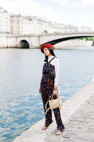 olivia lazuardy blogger hat top pants bag shoes fall outfits red hat beret jumpsuit