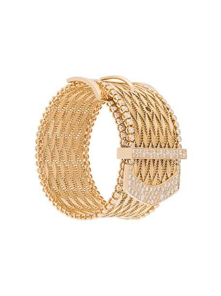 AURELIE BIDERMANN cuff women couture gold yellow grey metallic jewels