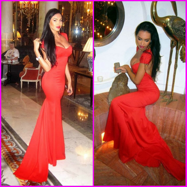 Aliexpress.com : Buy Sexy Backless Olesya Malinskaya Dress Sweetheart Open Back Cap Sleeves Red Fitted Mermaid Red Summer Prom Dresses from Reliable cap sleeve evening dress suppliers on 27 Dress