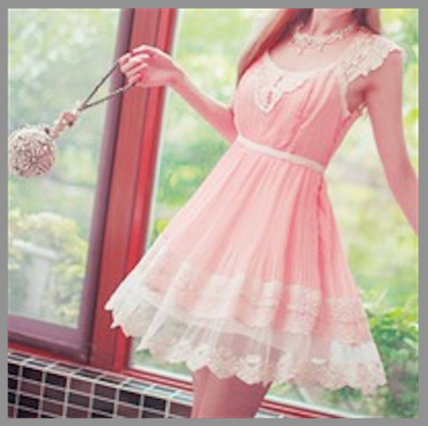 dress summer dress summer summer outfits spring spring dress lace dress lace white pink pink dress baby pink bubblegum pink elegant frilly flowy floral embroidered romantic fit and flare dress smock dress girly