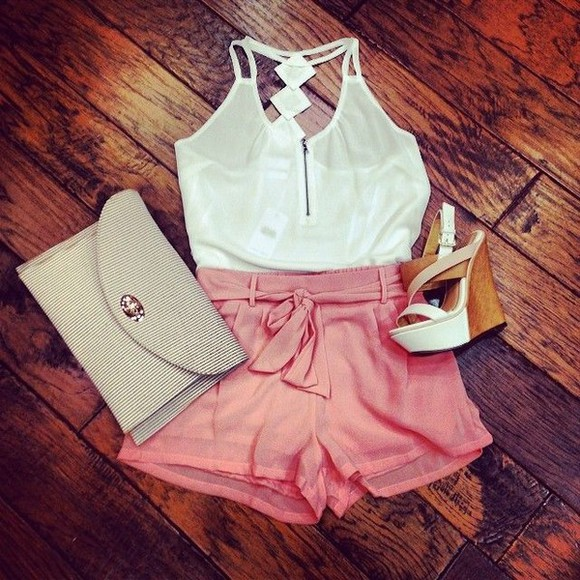 shorts tank top zipper white bag cute shoes clothes high heels, black, gold, sandals, sneakers, white, gold sandals summer outfits girly outfits tumblr cute shorts cute outfits summer summer top summer shoes clothing