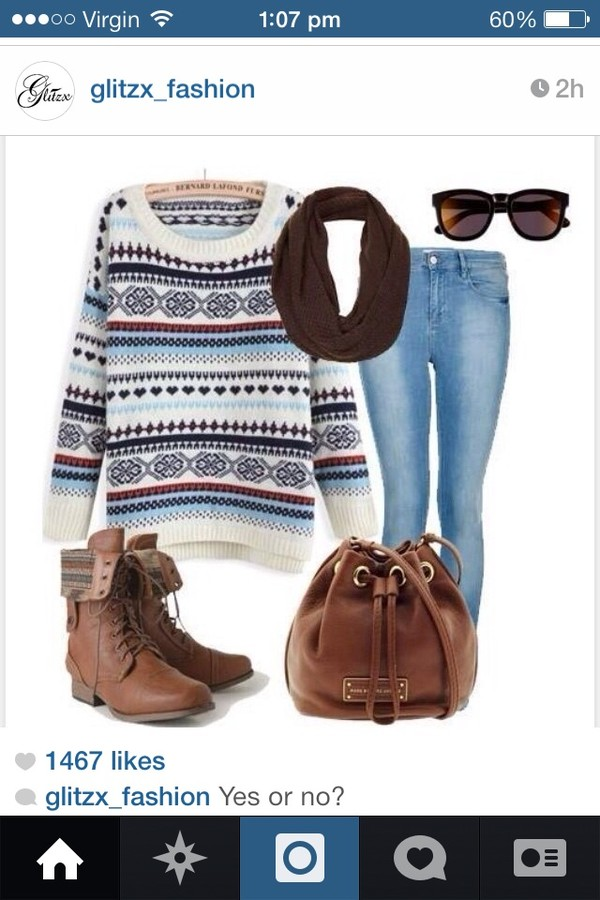 sweater blue brown cream winter sweater wool jumper aztec sunglasses shoes bucket bag