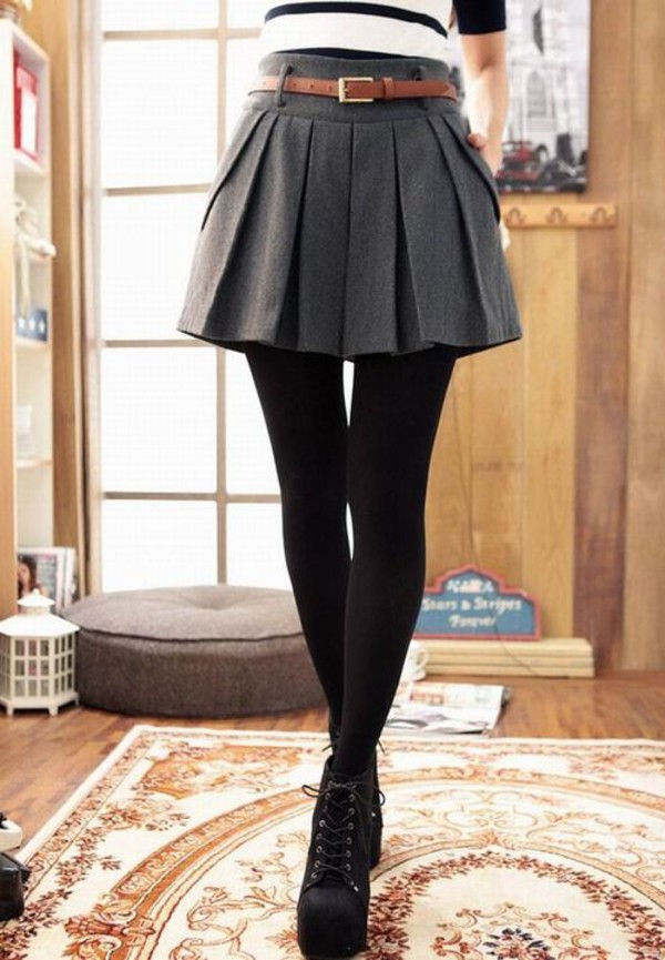 skirt winter outfits heels booties boots tights back to school belt skater skirt high heels high waisted skirt trendy trendy college college wedges wedge booties shoes pleated skirt preppy