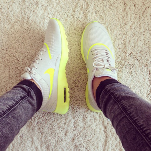 yellow and grey nike running shoes shoes nike nike air max thea air max