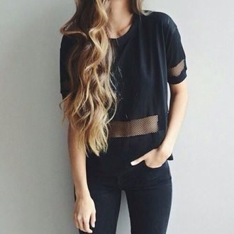 shirt black cropped crop tops cool dark net sporty transprent see through