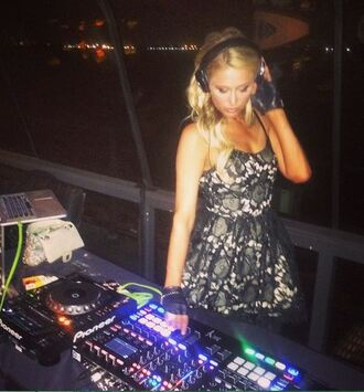 dress black dress lace lace dress paris hilton