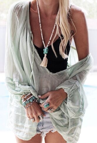 top boho boho chic mint tunic top tunic dress boho tunic flowy flowy top flowy blouse off the shoulder off the shoulder top sheer blouse sheer shirt summer outfits summer top blouse