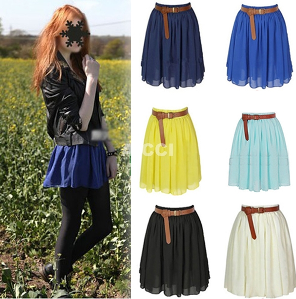 Women Retro Chiffon Pleated Long Elastic Waist Band Mini Dress Skirt 8 Colors | eBay