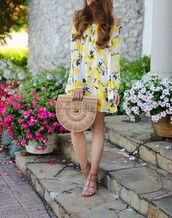 dress,tumblr,yellow,yellow dress,mini dress,summer dress,off the shoulder,off the shoulder dress,sandals,sandal heels,flat sandals,bag,shoes