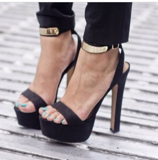 Shoes: black, gold, strappy, pumps, heels, platform shoes - Wheretoget