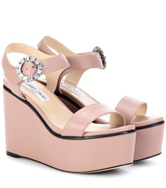 Jimmy Choo 100 sandals wedge sandals leather pink shoes