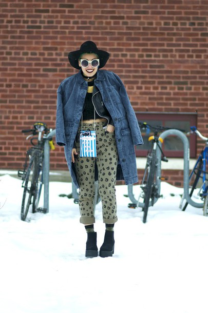 let's get flashy blogger coat hat grunge denim cropped pants jeans shoes bag top socks
