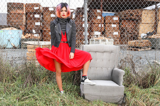 xander vintage blogger dress red dress striped sweater perfecto high top converse