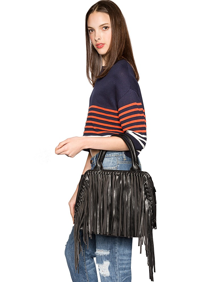 Black Leather Fringe Bag - Doctor Bag -$62