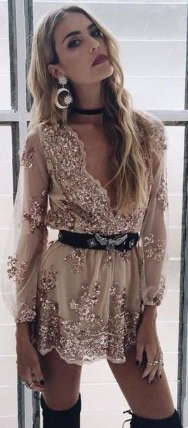 dress gold romper long sleeve romper