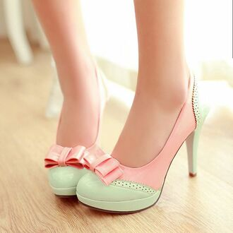shoes girly lolita shoes ddlg dd/lg ddlb pink cute pumps heels vintage shoes for her kawaii bow