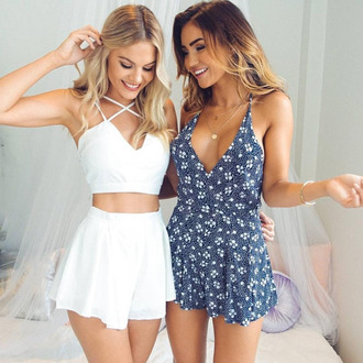 romper floral white blue summer set spring pretty two piece dress set two-piece blonde hair