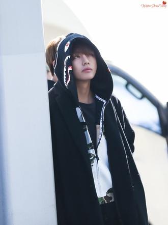 jacket black k-pop taehyung v kim taehyung bts bts kpop celebrity style celebrity puma puma hoodie black and white hoodie black jacket