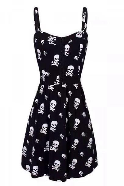 dress black dress skull dress style black black skulls gothic dress