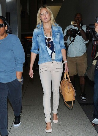 shirt jeans pants denim denim shirt kate hudson pumps purse bag