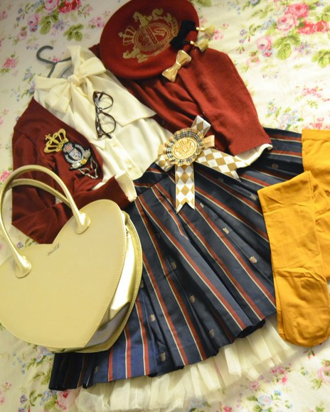 classic lolita lolita regimental military french skirt cardigan