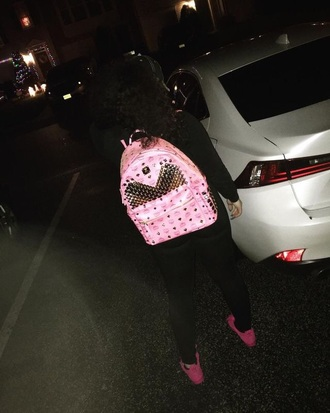 bag pink bookbag studs mcm bag mcm backpack studded bag