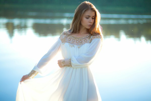 acid coke white dress white long sleeve bead pleated chiffon dress dress