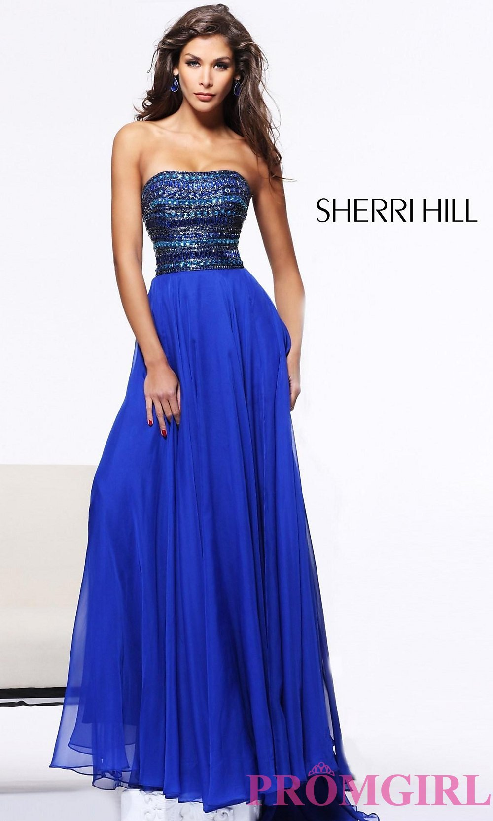 2bb9aea2cbe5a Sherri Hill Strapless Beaded Evening Gown 1539