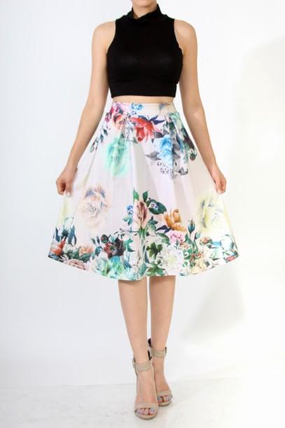 skirt midi skirt floral high waisted skirt flowers