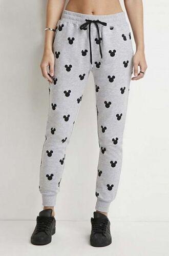 pants girl girly girly wishlist joggers joggers pants grey grey sweatpants forever 21 black mickey mouse sweatpants