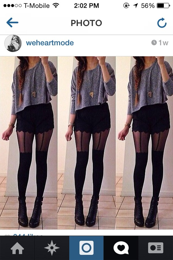 shorts high waisted black shorts classy fashion tights underwear shoes sweater