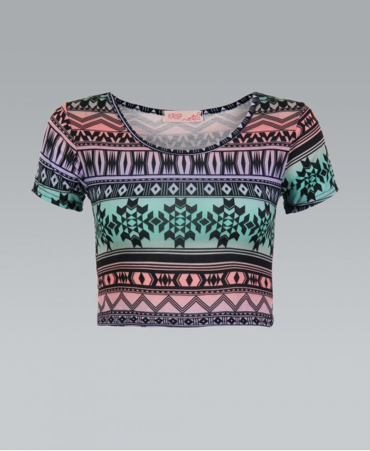 KRISP Multi Coloured Nordic Tribal Print Crop Top - KRISP from Krisp Clothing UK