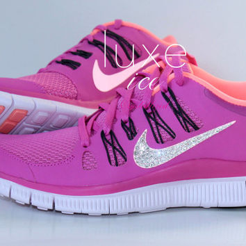 NIKE run free 5.0 running shoes w/Swarovski Crystals detail - Pink / Orange on Wanelo