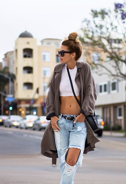 Jeans: ripped jeans, jacket, shirt, white, crop tops ...