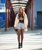 chloe ting,blogger,top,cardigan,shoes,bag,street,style,college,lace boots,laced boots,denim shorts,crop tops,oversized cardigan,student,collegeoutfit,outfit,streetstyle