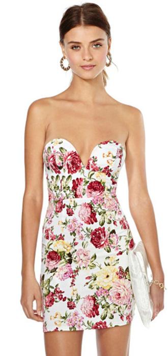 dress strapless dress boobtube floral print backless dress open back dresses lowcut dress heart