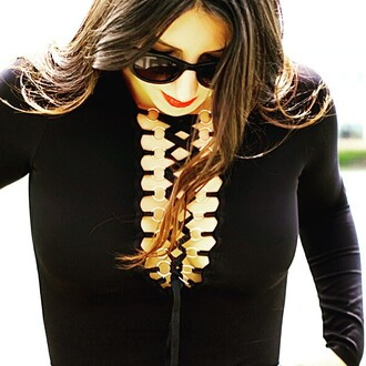 top nastygal bodysuit black lace up chrome